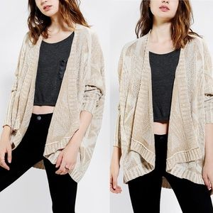 UO Sparkle & Fade Geoplaited Open Front Cardigan